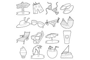 Sea rest icons set, cartoon outline