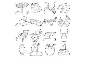 Sea rest icons set, cartoon outline