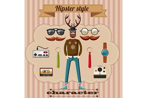 Hipster style character concept