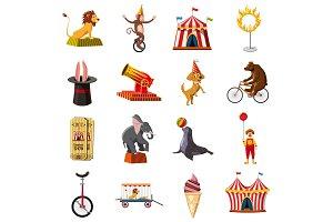Circus symbols icons set, cartoon