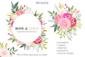 Rose and Gold Watercolour Clipart