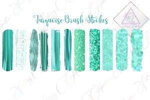 Turquoise Brush Strokes Clipart