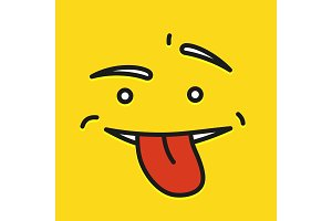 Yellow Smiling Cartoon Face Show