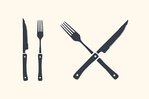 Meat cutting knives and forks set