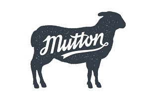 Mutton, Sheep, Lamb. Lettering
