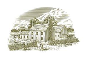 Woodcut English Farmhouse