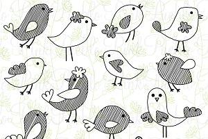 Cute Doodle Birds Clipart & Vectors