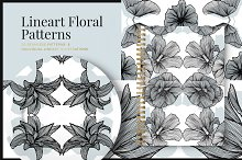 Lineart Floral Patterns & Elements