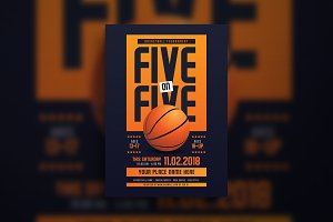 5 On 5 Basketball Tournament Flyer