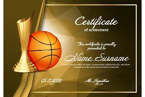 Basketball Certificate Diploma With