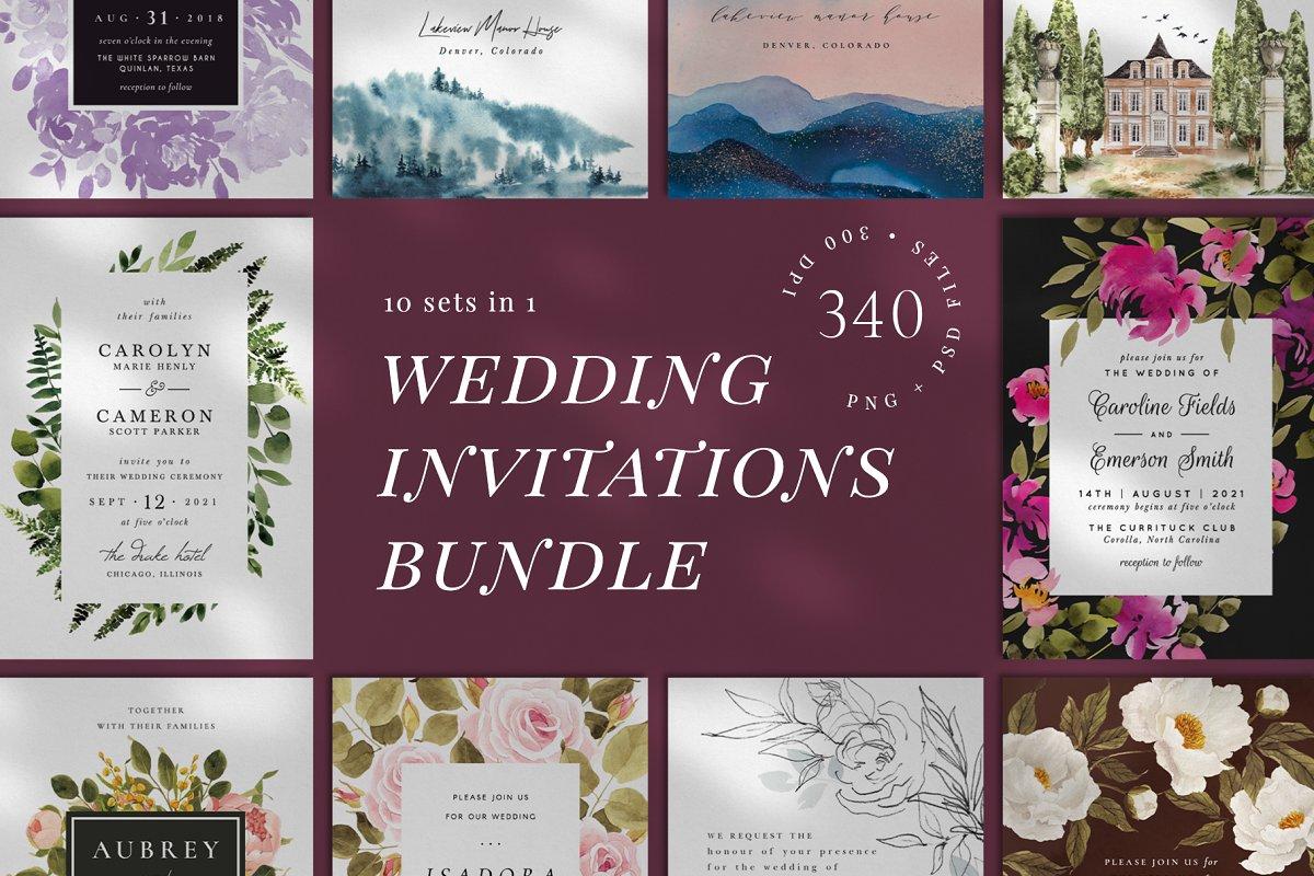 10 IN 1! Wedding invitations bundle
