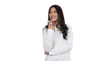 Portrait Asian woman holding technol