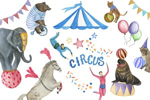 Watercolor circus patterns
