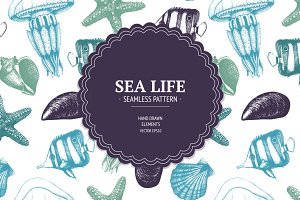 Sea life pattern collection
