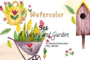 Watercolor Set Spring and Garden