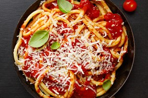 Italian pasta with tomato sauce and