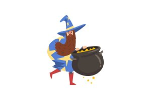 Male Sorcerer with Cauldron of