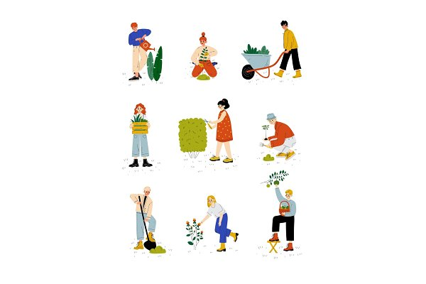 Illustrations: TopVectors - People Working in Garden or Farm