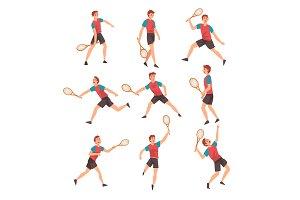 Young Man Playing Tennis Set