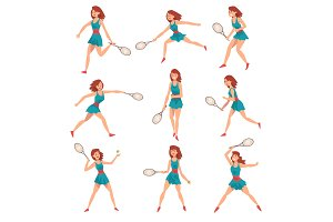 Young Woman Playing Tennis Set