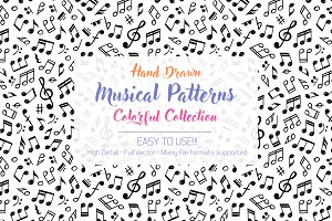 Pack of Six Vector Music Patterns