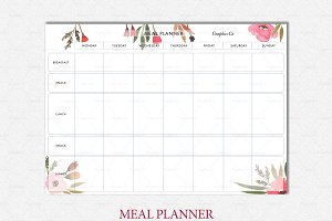 Botanical meal planner printable