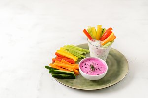 Colorful slices of raw vegetables in