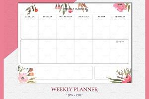 Botanical weekly planner printable