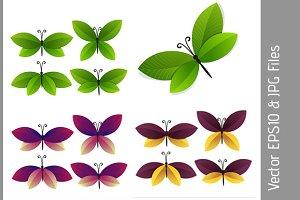 set of bright butterflies