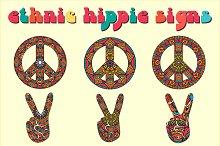 6 Ethnic Hippie Signs. Vector