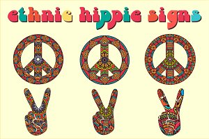 6 Ethnic Hippie Signs. Vector