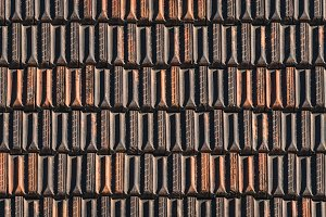 Terracotta tiles of an old roof