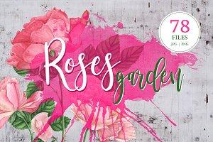 Roses garden: watercolor set
