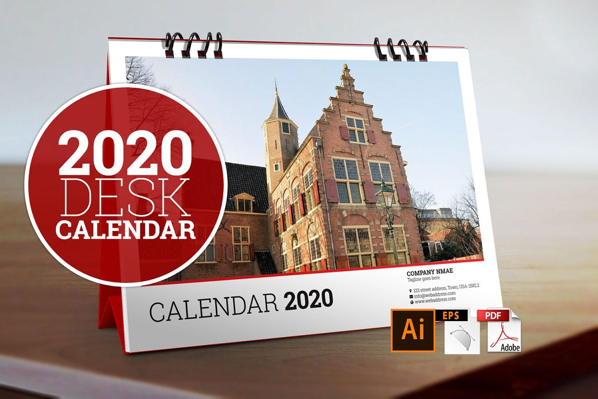 Desk Calendar 2020 Best Calendar 2020 ~ Stationery Templates ~ Creative Market