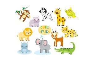 Cute cartoon african animals