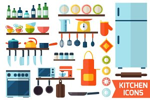 Cooking tools icons set