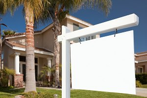 Blank Real Estate Sign and Home