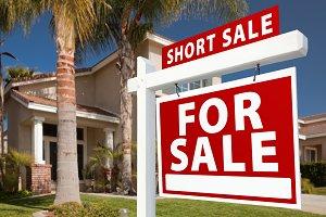 Short Sale Real Estate Sign & House