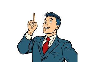 businessman smile index finger up