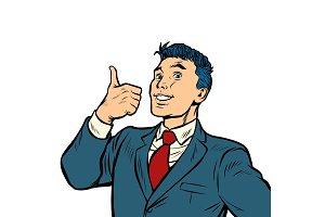 businessman smile thumb up like
