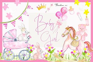 Girl Baby Shower Clipart | Pink Baby