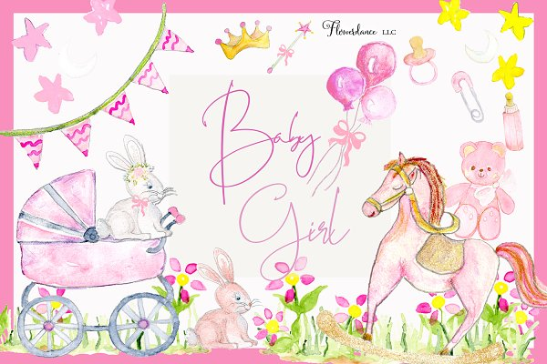 Girl Baby Shower Clipart Pink Baby Pre Designed Photoshop Graphics Creative Market