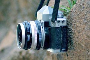 Vintage camera hanged on wall