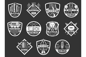 Electric power and energy icons