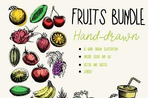 Fruits hand drawn bundle