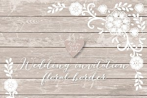 Vector invitation floral border