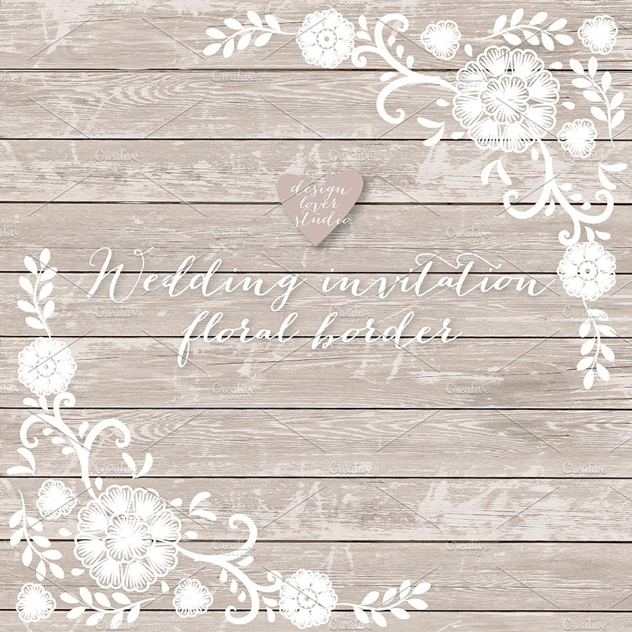Vector Invitation Floral Border Illustrations Creative Market