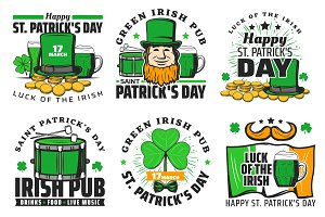 St Patrick day holiday icons