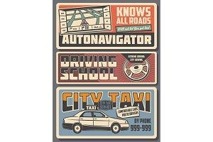 Navigator, driver school, taxi