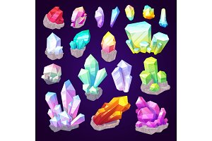 Gemstone crystals and jewel gems